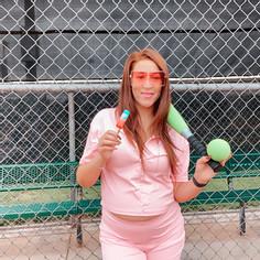 Baseball, sunglasses, bomb pop , pink outfit